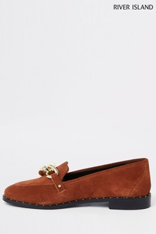 River Island Rust Leather Flat Loafer Shoe