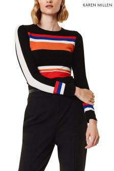 Karen Millen Black Graphic Stripe Knit Collection