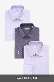 Lot de trois chemises en tissu texturé et rayée