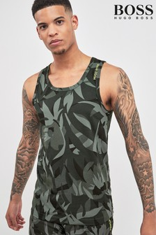 BOSS Khaki Camo Leaf Print Vest