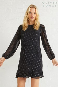 Oliver Bonas Black Star Foil Mini Dress