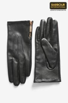 Barbour® International Black Premium Leather Gloves