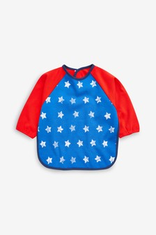 Star Print Long Sleeved Dribble Proof Bib