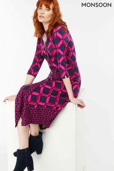 Monsoon Pink Gabby Geo Print Shirt Dress
