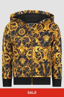Versace Girls Black/Gold Baroque Cotton Zip-Up Top