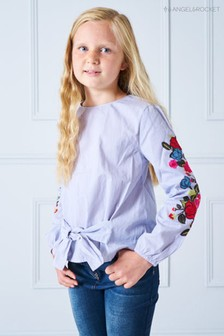 Angel & Rocket Blue Stripe Front Top