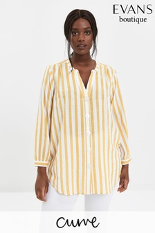 Evans Curve Yellow Stripe Button Shirt