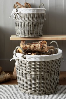 Set of 2 Lined Wicker Log Baskets