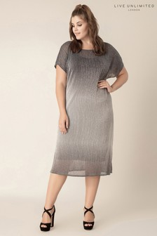 Live Unlimited Silver Plisse Ombre Dress With Cami