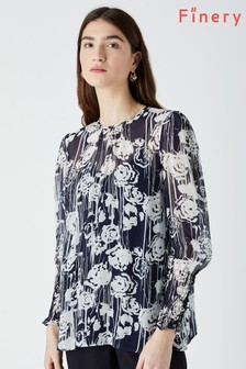 Finery Blue Ellison Printed Blouse