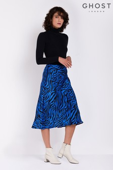 Ghost London Blue Printed Laila Satin Skirt