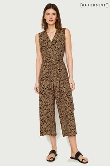 37c459bbc7 Warehouse Tan Animal Print Culotte Jumpsuit