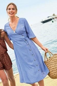 Kleid mit Kleid mit Knopfdetail und strukturierten Seiten
