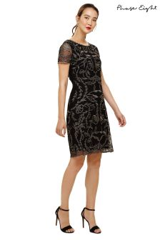 Phase Eight Black Alannah Embroidered Mesh Dress