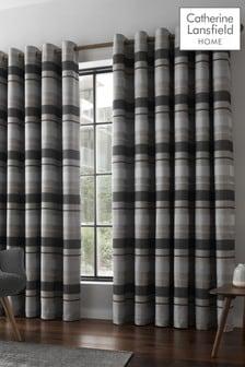 Powel Jacquard Stripe Eyelet Curtains by Catherine Lansfield