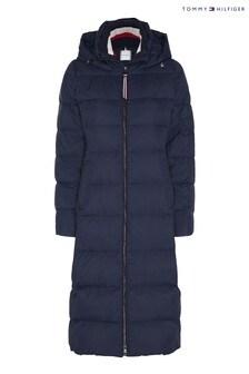 Tommy Hilfiger Blue Global Stripe Maxi Down Coat