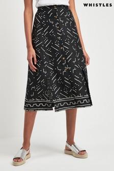 Whistles Black Kuba Print Linen Tie Front Skirt