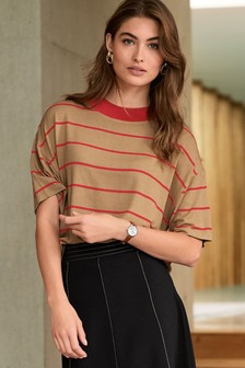 Stripe Rib Neck T-Shirt
