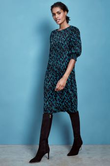 Pure Collection Turquoise Floral Print Pintuck Sleeve Dress