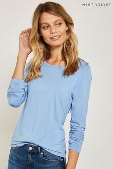 חולצת טי של Mint Velvet דגם Scoop Modal בכחול