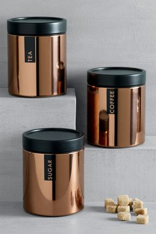 Set of 3 Copper Stacking Storage Tins