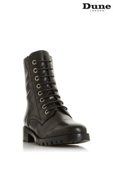 Dune London Black Prestone Cleated Sole Lace-Up Hiker Boots