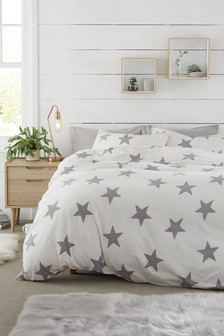 Brushed Cotton Stars Duvet Cover and Pillowcase Set
