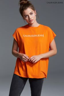 Calvin Klein Jeans Womens Orange Institutional Vinyl Logo T-Shirt