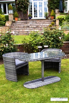 St Tropez Rattan Chat Set - Grey by Charles Bentley