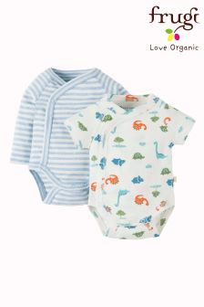 Frugi White Cuddly Kimono Dinky Dinos Organic Cotton Body Two Pack