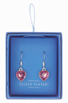 Plated Crystal Heart Earrings With Swarovski® Crystals