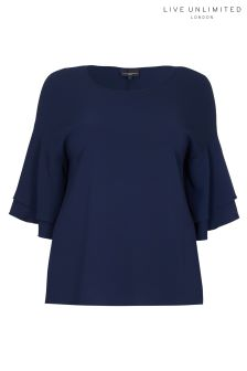 Live Unlimited Navy Ruffle Sleeve Top