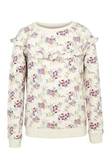 FatFace Oatmeal Falling Floral Print Crew Neck Sweat