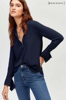 Warehouse Navy Split Cuff Blouse
