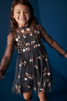 Embroidered Floral Dress (3-16yrs)