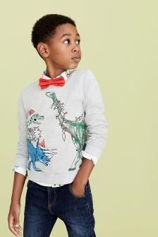 סוודר של Monsoon דגם Festive Dino באפור