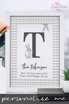 Personalised Bunny Initial A4 Framed Print by Signature PG