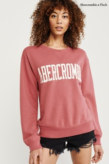 Abercrombie & Fitch Red Logo Crew Neck Jumper