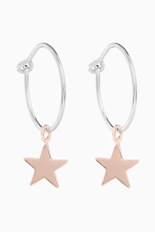 And Rose Gold Plated Star Charm Hoop Earrings