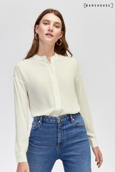 Warehouse White Long Sleeve Satin Tipped Blouse