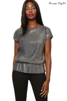 Phase Eight Grey/Gold Paquita Foil Pleat Blouson Top