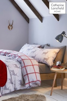 Catherine Lansfield Brushed Cotton Stag Duvet Cover and Pillowcase Set