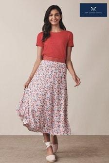 Crew Clothing Pink Printed Midi Skirt