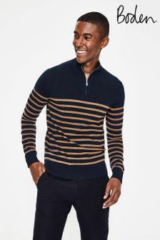 Boden Blue Cashmere Half Zip Top