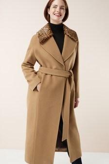 Signature Wrap Coat With Faux Fur Collar
