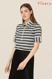 Finery London Multi Zaley Monochrome Striped Poloshirt