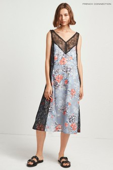 French Connection Blue Cateline Devoré Lace Slip Dress