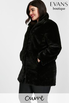 Evans Black Plush Midi Faux Fur Coat