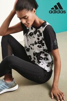 adidas Black/White/Mint Poppy Print Tee
