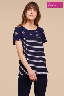 Joules Blue Suzy Striped Floral Top